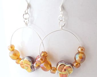 Hoop Earrings With Beads - Honey Glass Beads, Czech Glass Pansies, Golden Glow, Handmade Boho Jewelry, Floral Hoops, Silver Earwires