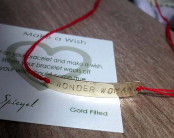 Gold WONDER WOMAN Bracelet Personalized Message Bracelets Wonder Woman Jewelry Gift for Mom Superwoman Super Hero Mom Wonder Woman jewelry