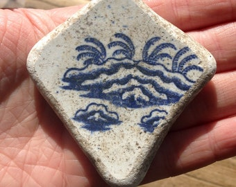 DECORATIVE SEA POTTERY | Blue Sea Pottery Shard | Pendant | Scottish Beach Finds (8084)