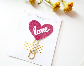 Love hot pink heart planner clip, Bible journaling kit, bible study planners, prayer journaling, Christian planner, minister wife gift