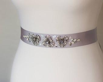 Gray Bridal Sash, Bridal sash, Gray wedding sashes belts, Floral sash, Silver wedding, Gray wedding