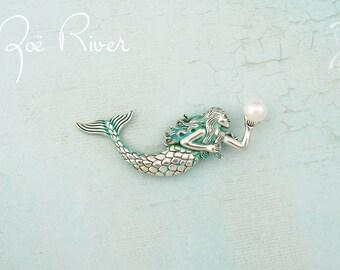 Silver and turquoise mermaid brooch. Mermaid jewelry. Mermaid pin. Silver mermaid brooch. Turquoise brooch. Verdigris patina brooch.
