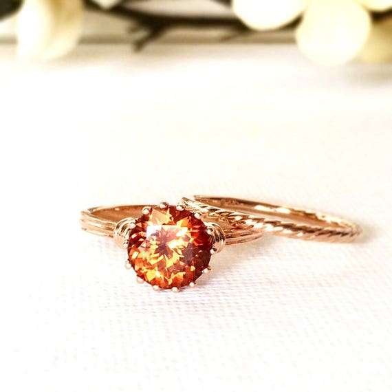 Cognac Zircon Sixteen Prong Rose Gold Ring and Band