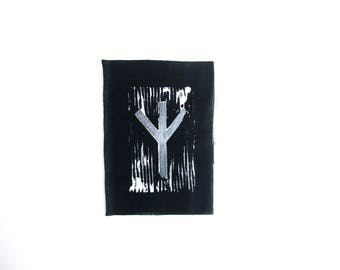 Algiz rune hand stamped patch, Elhaz hand made rune patches, black and white patch
