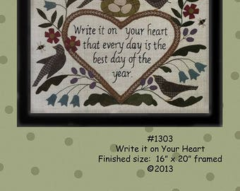 "Primitive Folk Art Wool Applique/Embroidery Pattern - ""WRITE It On YOUR HEART"" Sampler - Fits in Standard Size Frame"