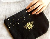 Large Cosmetic Pouch, Black and Gold Zipper Clutch, Gold Bumble Bee Make Up Bag, Eco-Friendly Stylish Clutch
