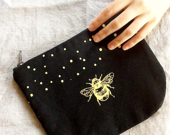 Large Black Pouch with Gold Bumble Bee, Black and Gold Cosmetics Bag, Antique Brass Zipper Bag, Eco Clutch