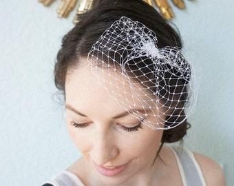 Small Mini Wedding Bridal Bride Birdcage Veil Russian Veiling ABBY White Ivory Black Champagne