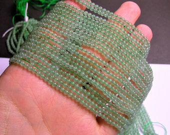 Green Aventurine - 3mm round beads -  full strand - 131 beads - A Quality - PG48