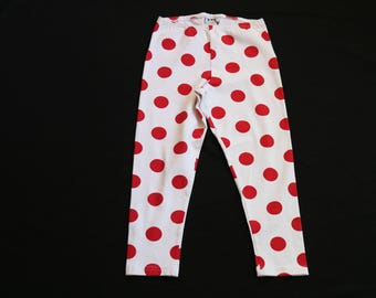 Deadstock Polka Dot Leggings | s/m wine and red circle pattern 90s vintage stretch capris soft body con high waist hipster kitsch art print