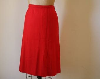 Wool Pendleton Skirt | L vintage cherry red midi length high waist office professional preppy bottom medium large 8 9 10 12