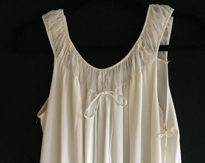 Eggshell Slip   60s vintage off white sleeveless classic style mid century 1960s retro lounge wear lingerie