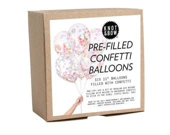 "Pre-filled Confetti Balloons / 11"" Multicolor Set of 6"