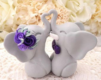 Wedding Cake Topper, Elephants in Love, Gray and Shades of Purple, Bride and Groom Keepsake
