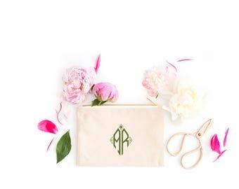 Monogrammed Make Up Bag, Monogram Cosmetic Bag, Travel Case, Diamond Monogram, Makeup Bag, Gift for Her, Bridesmaid Gifts, Multiple Colors