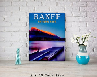 Art Poster 8x10 Print Banff National Park Canada Travel Poster Vintage Style Art Canadian Print Canada Mountains