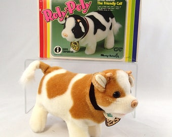 Roly Poly The Friendly Calf Battery Operated White and Tan Brown Baby Cow In Bow Original MINT Made in Japan Walking Moo Mooing Tail Wag