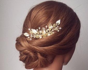 Gold Bridal Hair Piece, Leaf Hair Comb, Wedding Hair Piece, Gold Hair Comb, Beaded Hairpiece, Bridal Hair Pins, Hair Vine, Bridal Headpiece