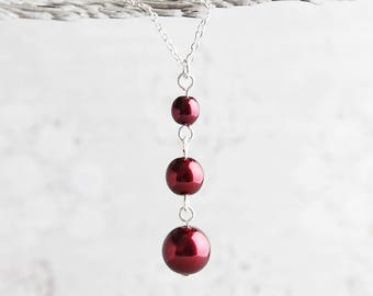 Garnet Pearl Necklace, Burgundy Necklace on Silver Plated Chain, Dark Red Pearl Pendant, Maroon Bridesmaid Jewelry
