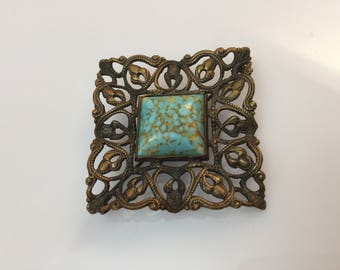 Square antique filigree c.1920s robins egg blue glass cabachon gold wash brooch or pin
