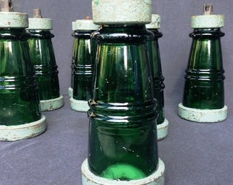 Antique rescued industrial green glass insulator. Rare retro indus collectibles. PRICE FOR ONE.