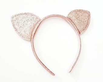 Sale GLITTER CAT EARS Headband Halloween Rose Gold Glittered Sparkly Catwoman Costume Birthday Party Hat Bridal Shower Bachelorette Prop
