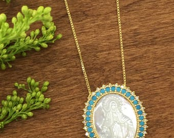 Religious Jewelry, Miraculous Medal, Religious Necklace, 18K Gold Plated, Virgin Mary Medal, Pendant, Religious Gift, Mother of Pearl