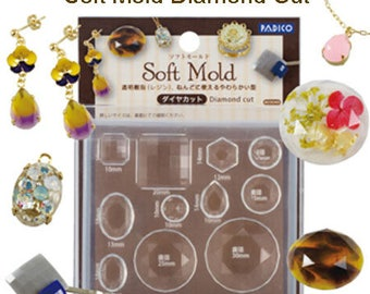 Padico resin mold assorted diamond cut mold / Padico resin labyrinth mold assorted diamond cut mold / Padico soft mold / Padico jewelry mold