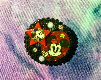 Minnie and Mickey Mouse Small Brooch