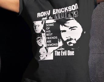 Roky Erickson   T shirt   screen print short sleeve  black shirt cotton