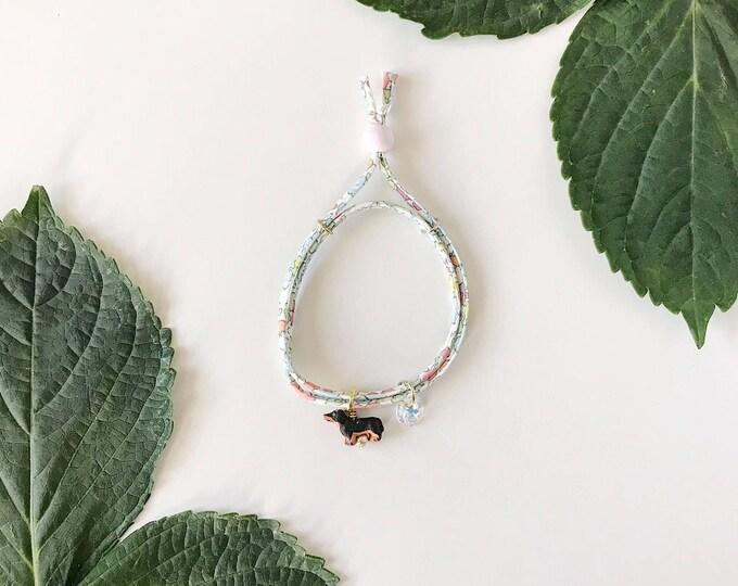 Featured listing image: Liberty of London Charm Bracelet for Little Girls, Adjustable Size, Wiener Dog Charm, giddyupandgrow