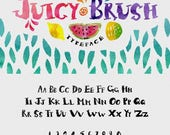 Digital Fonts 80% Off SALE Juicy Brush Typeface Fonts - Hand Painted Capital Display font