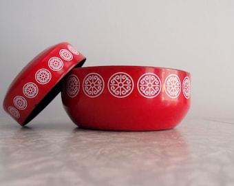 Asta Red Enamel Bowl set of 2 Germany Midcentury Modern enamalware nesting bowls