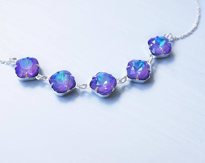 Featured listing image: Necklace, Crystal Necklace, Purple Necklace, Silver Necklace, Handmade Necklace, Cushion Cut Necklace, Swarovski Necklace, Gift for Her