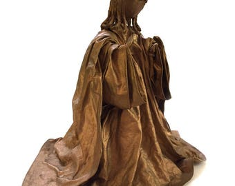 """Vintage 10"""" Paper Cloth Mache Gold Angel Collectible Christmas Holiday Decor"""