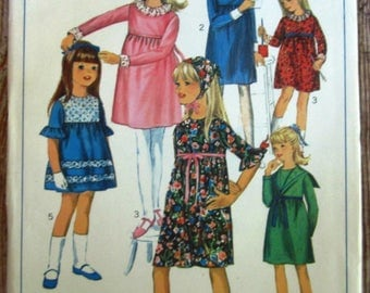 Vintage 1960s Little Girls Dress with Empire Waistline, Gathered Skirt, Sleeve Variations and Scarf Size 4 Simplicity Pattern 6764 UNCUT