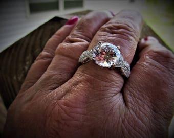 Gorgeous Engagement Ring 2plus Carat Diamond CZ Center Stone Shank Milgrain CZ Pave Criss Cross