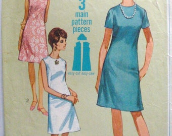 Simplicity 7072 - 1960's Shift Dress  - Vintage Jiffy Sewing Pattern - Size 12, Bust 32