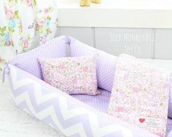 Fabric Baby Doll Bed, Quilt, and Pillow for Sock Monkey Bizz Toy Co. Dolls, Purple Chevron and Polka Dot