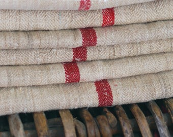 VINTAGE European Grain Sack with single FRENCH RED Stripe