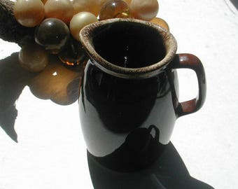 Hull Pottery Drip Pitcher Brown Small Water Juice Pitcher 32 Ounce