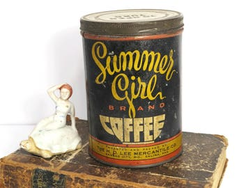 Vintage Summer Girl Brand Coffee Tin RARE H. D. Lee Mercantile Co.