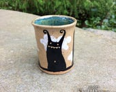 Monsters in the Clouds Cup - stoneware ceramic shot glass espresso cup artwork fantasy