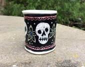 Skull Cup - porcelain, ceramic, shot glass, espresso cup, sgraffito artwork, fantasy, dia de los muertos