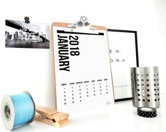 2018 Printable Calendar, All Vertical Calendar, Monthly Calendar, 2018 Planner, Wall Calendar, Home Office Organization, Desk Calendar, PDF