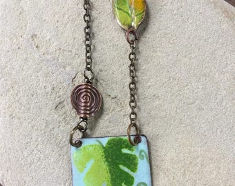 Enamel Necklace/Enamel Jewelry/Pendant/Charm/Nature Art/Tropical/Costa Rica Inspiration/Torch Fired Enamel/Organic/Floral/Gift For Her/Fun