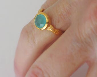 Gold Ring - Aquamarine Ring - Chalcedony Ring Gemstone Ring - Round Stone Ring - Blue Ring - Brushed Gold Ring