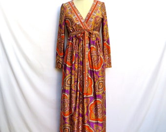 Vintage 1970's/Psychedelic Paisley Maxi Dress with Long Sleeves/Joseph Magnin/Small-Medium