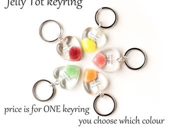 Jelly Tot Keyring with Love You Lots Like Jelly Tots Words, Jelly Tots Gift, ONE Keyring, Red Purple Green Orange Yellow, UK, 001/JT