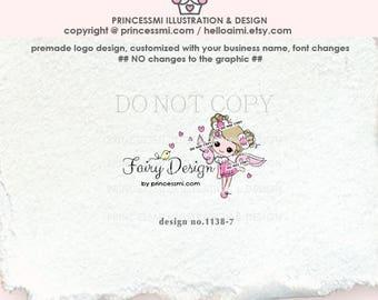 1138-7 fairy logo, cute girl logo, kids business, children boutique,  angel, fairy design, watermark, handcraft, handmade shop logo